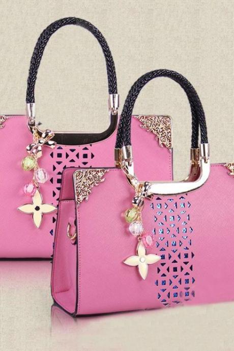 Fashion Cute Candy Color Floral Cutout Handbag - Pink