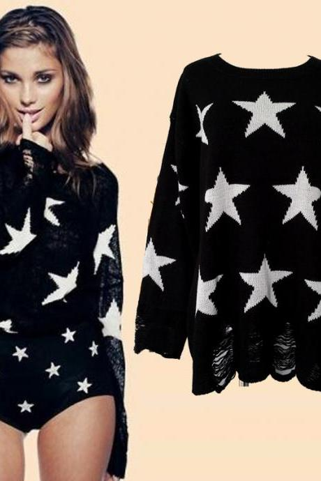 Fashion Loose Fitting Star Print Knit Sweat - Black
