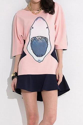 Pink Shirt with Shark Pattern