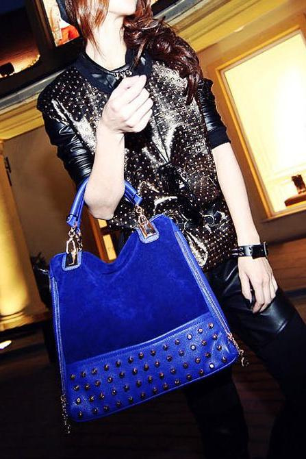 Hot Fashion Rivet Tote Shoulder Messenger Handbag Hobo Bag