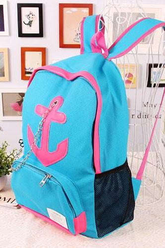 Leisure Candy Color Anchor Print Chain Backpack - Blue