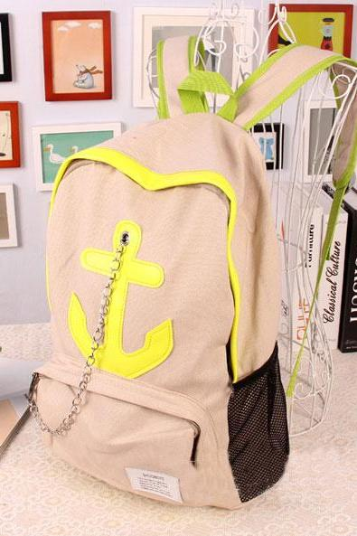 Leisure Candy Color Anchor Print Chain Backpack - Beige