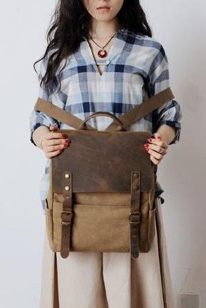 Retro European Style Leisure Canvas Backpack - Khaki