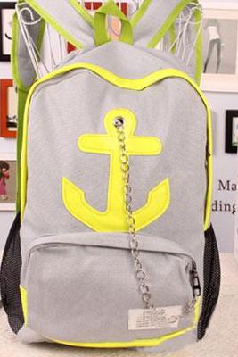 Leisure Candy Color Anchor Print Chain Backpack - Gray