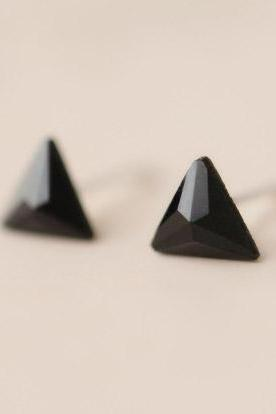 Black Onyx triangle 925 Sterling silver big earrings pretty cute elegant ear stud ear nail