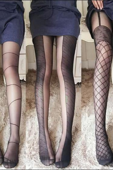 Black Pattern Print Tail Tights Stockings Pantyhose For Spring and Summer KW1001