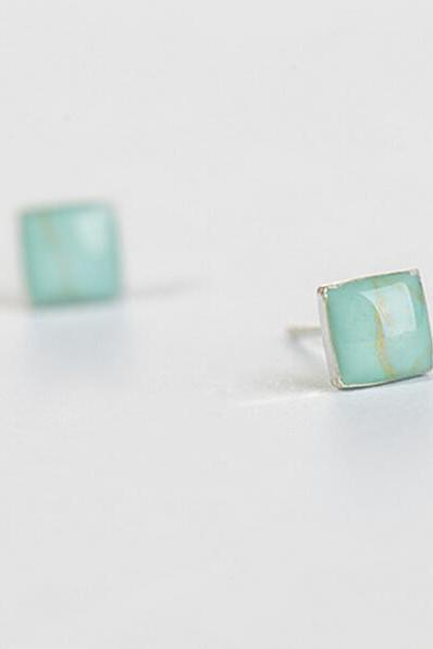Sterling Silver Anti Allergy Square Earring