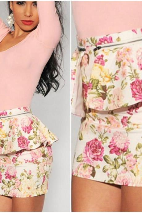Pink Floral Printed Peplum Mini Skirt