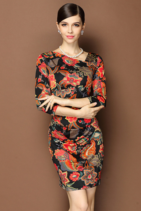 The new Europe and the United States women's fashion simple ice digital printing waist dress