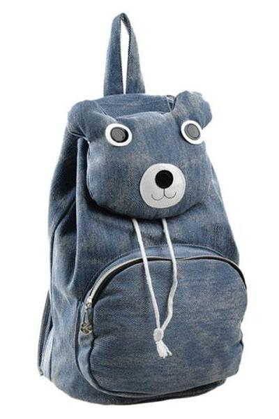 Lovely Cute Cartoon Bear Leisure Canvas Backpack - Blue