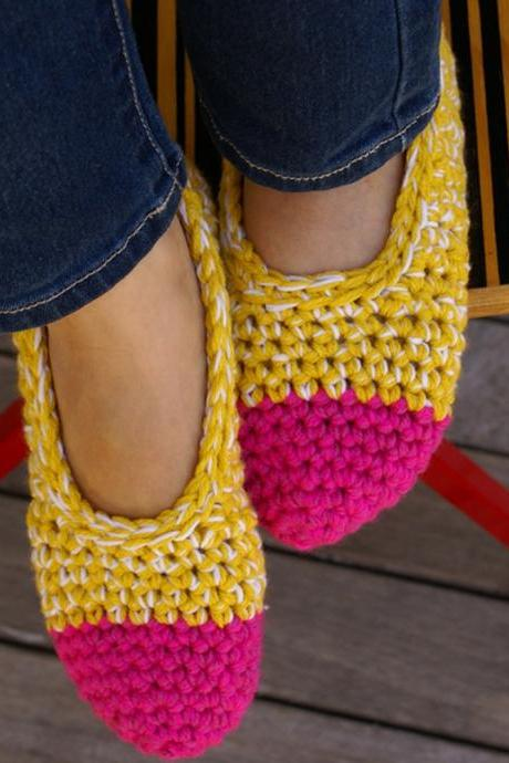 Crochet Slippers, House Shoes in Hot Pink & Yellow