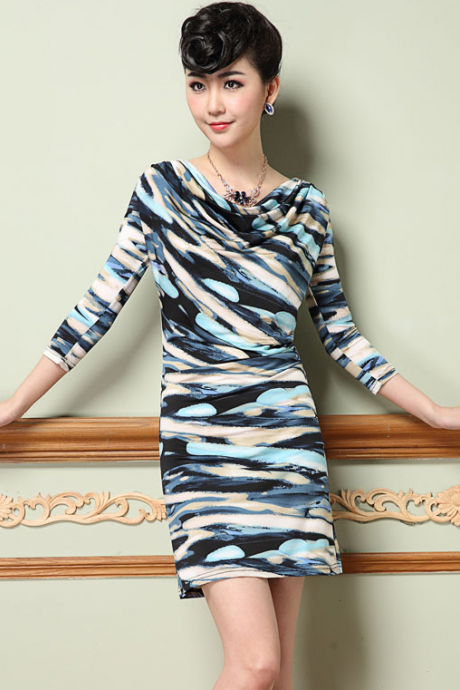 Elegant camouflage printed noble fashion pile collar long sleeved dress