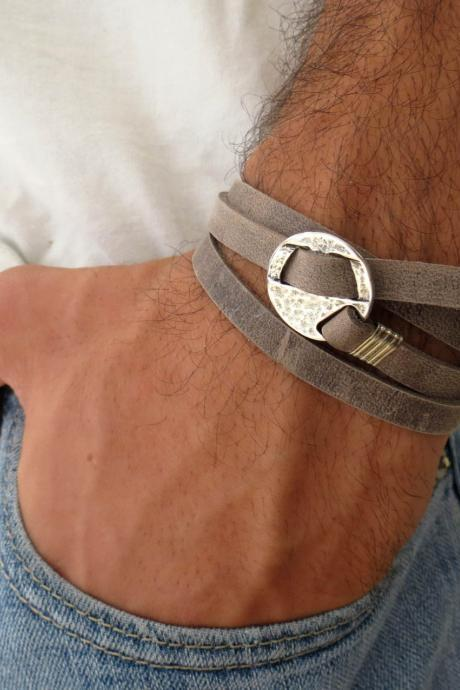 Men's Bracelet - Men's Geometric Bracelet - Men's Gray Bracelet - Men's Leather Bracelet - Men's Jewelry - Bracelets For Men - Gift for Him