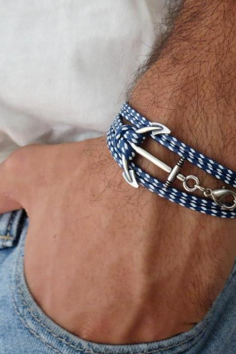 Men's Bracelet - Men's Anchor Bracelet - Men's Nautical Bracelet - Men's Vegan Bracelet - Men's Jewelry - Men's Gift - Boyfrienf Gift - Husband Gift - Gift for him - Gift For Dad - Present For Men - Male Bracelet - Male Jewelry
