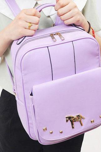 Fresh College Pony Rivet Fashion Backpack & Handbag