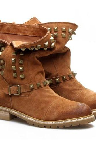 British Style Rivets Round Toe Flat Heel Motorcycle Boots