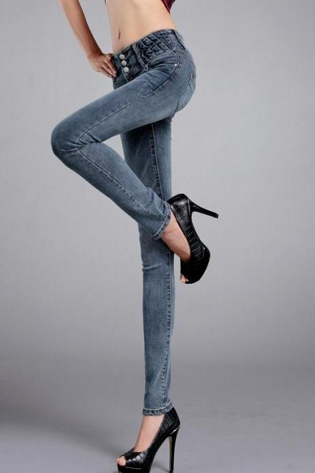 Slim new women high waist skinny leg jeans pants fashion bomb