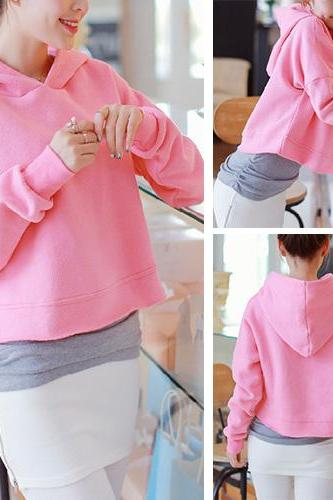 Fashion Pure Color Long Sleeve Hooded Sweatshirt + Tank Top Two Piece Set