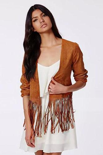 Fashion Round Neck Pure Color Tassels Jacket Coat