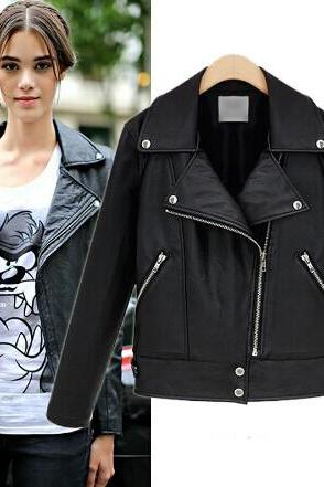 Fashion Slim Fit Long Sleeve Zipper Pu Leather Coat Jacket