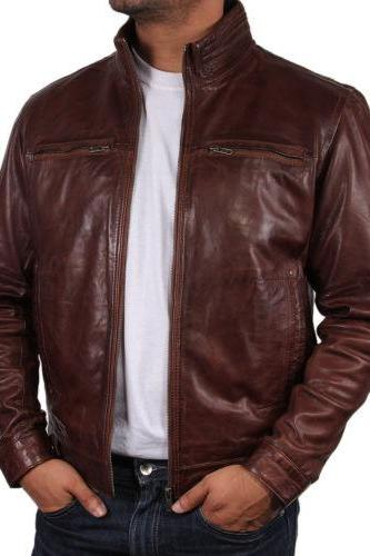 MENS BIKER LEATHER JACKET, MEN BROWN MOTORCYCLE JACKET