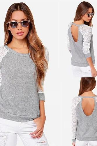 Sexy Hollow Out Backless Lace Spliced Long Sleeve Knitting T-Shirt