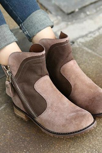 Retro Contrast Color Round Toe Ankle Martin Booties