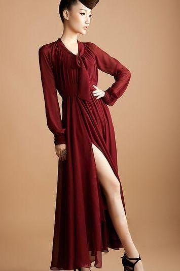 Long Sleeve Pleated Chiffon Dress in 4 Colors
