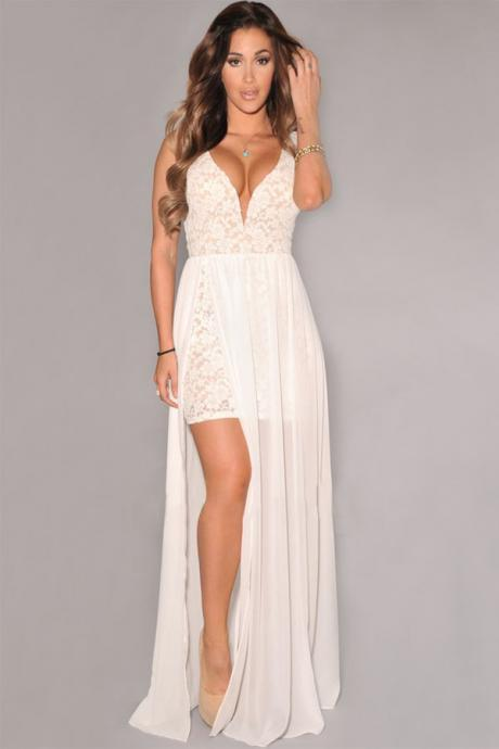 Cheap Sexy V Neck Spaghetti Strap Sleeveless Lace Patchwork White Maxi Dress
