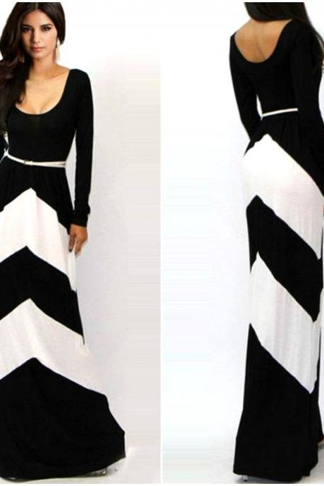Black and White Floor Length Long Sleeve Dress