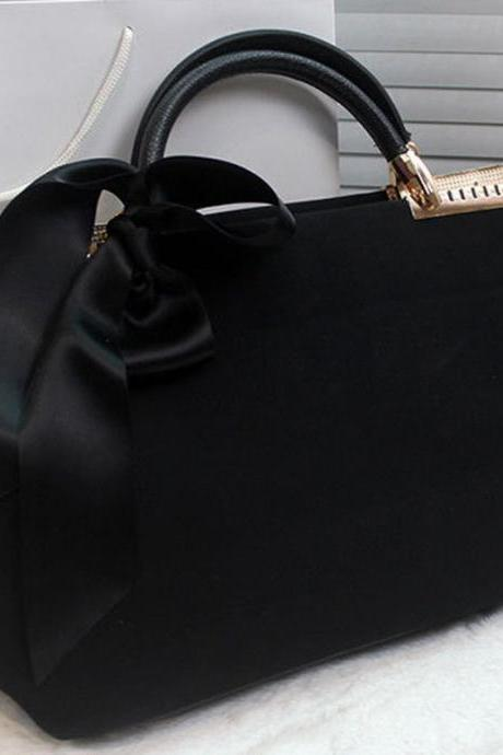 Women Ladies Handbag Ribbon Faux Leather Hobo Shoulder Bag Recreation Bag Tote BLACK