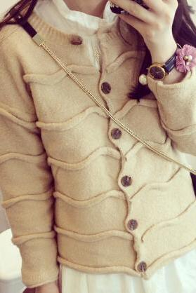 Sweet long-sleeved wool coat #101204AD
