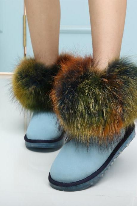 Seven color fox fur snow boots