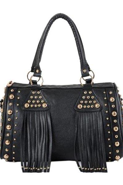 Studded Fringe Pu Leather Bag