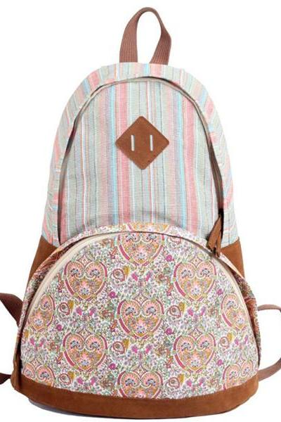 Backpack In Stripes And Floral Printed 0627017