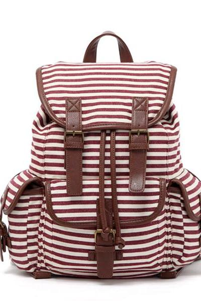 Stripes Printed Backpack With Double Buckles Detail 0627020