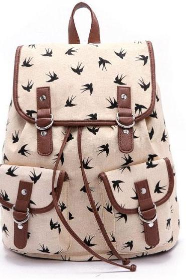 Swallow Printed Canvas Leisure Backpack