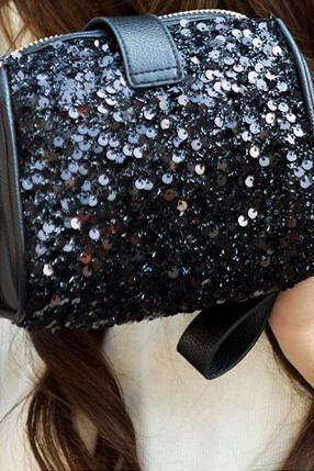 Retro Black Sequins Packet Clutch Bag Camera Bag Diagonal Bag