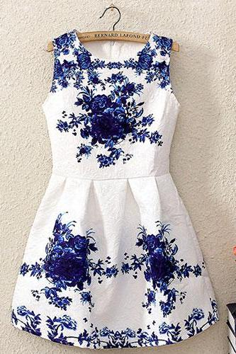 Blue Floral Print Crew Neck Bodycon Tank Dress