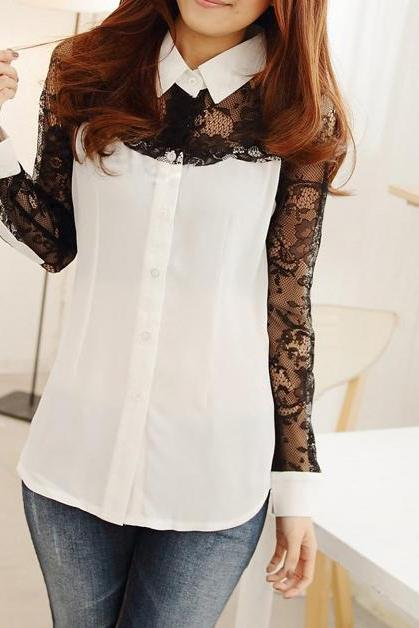 Stitching Lace Shirt Long-sleeved Shirt OL Slim123 A 081913