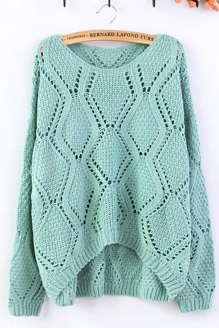 Green Large Rhombic Hollow Sweet Sweater