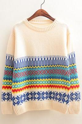 Retro Snowflake Geometric Pattern Pullover Sweater