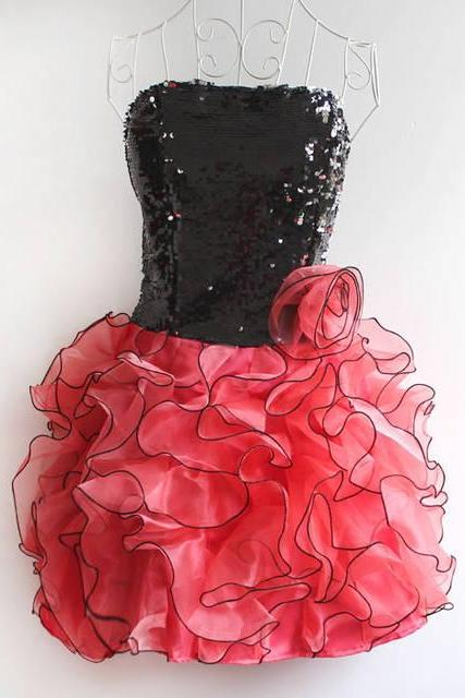 Sequined Dance Costume Stage Dress Evening Dress Party Dress-Light Red
