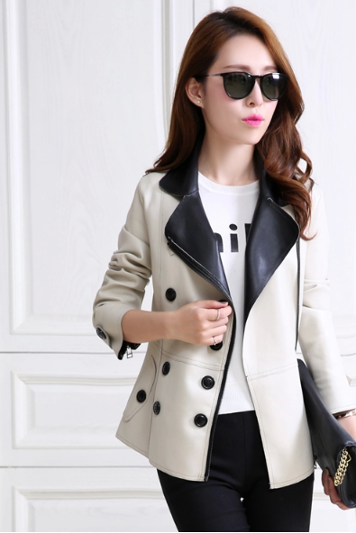 Ms. PU leather female brief paragraph small coat of cultivate one's moralityA005