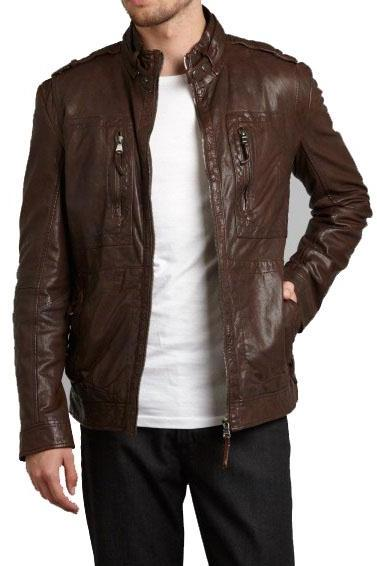 MENS BROWN BIKER LEATHER JACKET, MEN BIKER LEATHER JACKETS