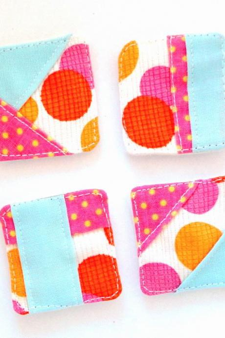 Magnets mini fabric patchwork unique set 4 OOAK bright orange pink polk dots blue