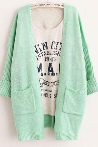 Candy Color Pockets Loose Fit Knit Cardigan Jacket Coat