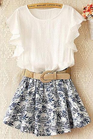 Coconut Tree Print Skirt Stretchy Waist Falbala Sleeve Dress