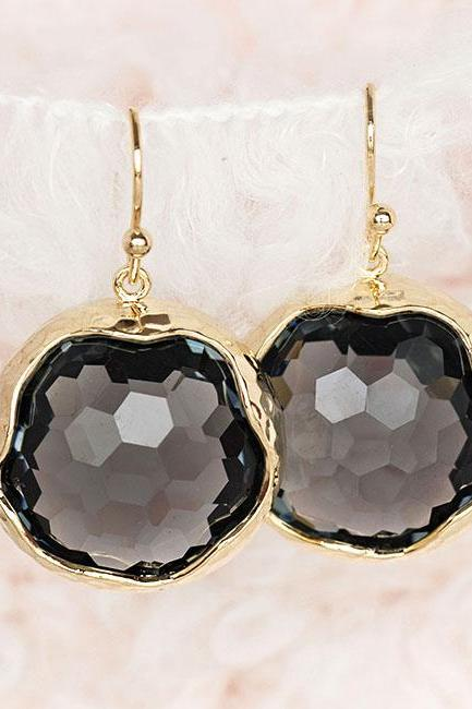 Large Charcoal Grey Drop Dangle Earrings, Cocktail Gala Wedding Jewelry