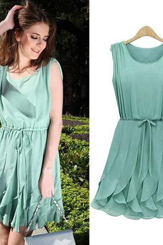 Green Belted Falbala Crew Neck Tank Dress Chiffon Sundress
